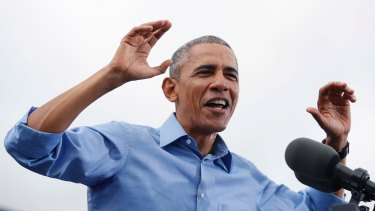 President Barack Obama campaigns for Hillary Clinton at Osceola County Stadium in Kissimmee, Florida, on Sunday.