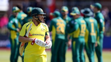 Much to ponder: Aaron Finch is dismissed early in Australia's innings.