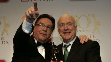 John Clarke and Bryan Dawe at the 2008 TV Week Logie Awards at Crown Casino.