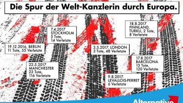 "Black and red tyre tracks are labelled with the dates and body counts of recent  terror attacks in this Alternative for Germany poster: ""The tracks left by the global chancellor through Europe."""