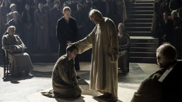 Loras' trial before the High Sparrow minutes before being blown apart.