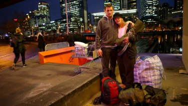 Homeless couple Dave and Kellie were evicted  from their makeshift camp at Enterprize Park in the city in June.