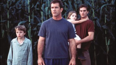 Left to right: Rory Culkin, Mel Gibson, Abigail Breslin, and Joaquin Phoenix star in