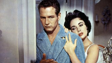Paul Newman as Brick and Elizabeth Taylor as Maggie in the 1958 film adaptation of Cat on a Hot Tin Roof.