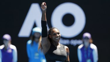 Serena Williams celebrates her win and the chance to shoot for another Australian Open title.