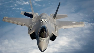 A Joint Strike Fighter aircraft designed by Lockheed Martin.