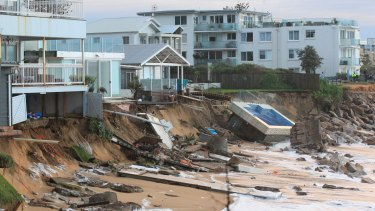 After the big storm, houses at Collaroy Beach front.