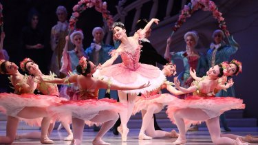 Ako Kondo (centre) performs as Princess Aurora during a dress rehearsal of David McAllister's production of The Sleeping Beauty.