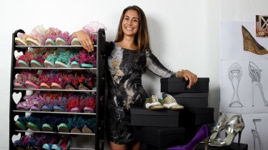 Shoes of Prey's Jodie Fox with some her company's shoes last year.