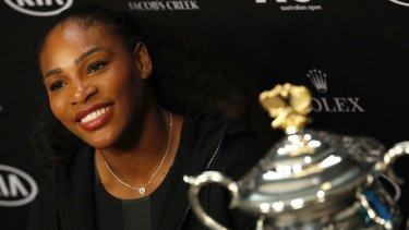 Serena Williams after winning the 2017 Australian Open, when she was pregnant with her first child.