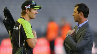 Shane Watson of the Thunder with former test captain turned Big Bash commentator Ricky Ponting.