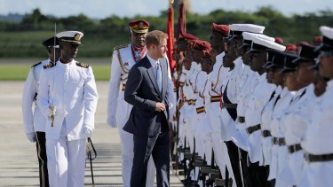 Prince Harry on the first day of an official visit to the Caribbean on Sunday in Antigua, Antigua and Barbuda.