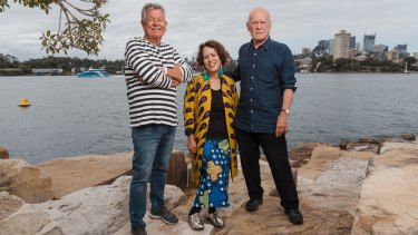Harbourside: Ken Done, Wendy Sharpe and Michael Johnson at Barangaroo reserve.
