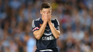 Melbourne Victory's Marco Rojas despairs after his penalty was saved.
