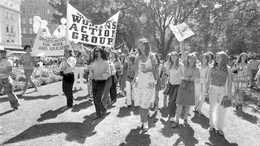 Germaine Greer at a women's liberation march in Sydney in 1972, during what was a transformative decade for Australia socially and politically.