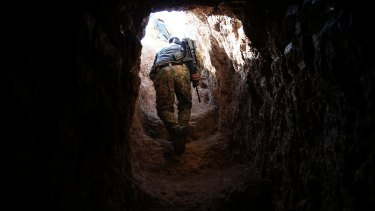 A tunnel exit at the town of Badana that was liberated from the Islamic State group on Monday.