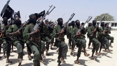Al-Shabab fighters outside of the Somalian capital Mogadishu in 2011.