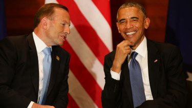 Prime Minister Tony Abbott with US President Barack Obama at the US embassy in Beijing on Monday.