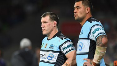 Familiar feeling: Paul Gallen, left, has been on the wrong end of some of Cronulla's most crushing losses.