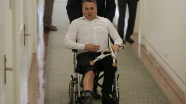 Jamie Briggs sports an injury the day after commiserating with Tony Abbott following the leadership spill.