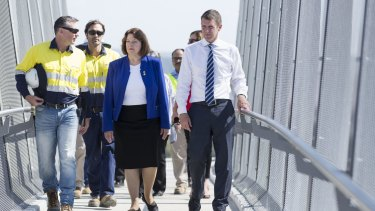 Premier Mike Baird and Blue Mountains MP Roza Sage visit a pedestrian bridge at Bullaburra East as part of the Great Western Highway upgrade.