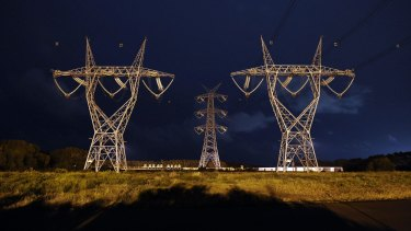 Power lines leading to the smelter at Portland.