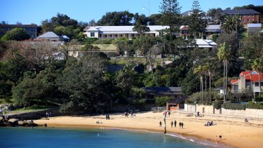 Panorama of Camp Cove including Constables Cottage and other historic buildings in Watsons Bay to be turned into to-rent venues.