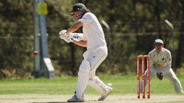 Cricket ACT Douglas Cup semi-final: Weston Creek Molonglo v Queanbeyan. Weston Creek Molonglo's Jono Dean. Photo: Jamila Toderas