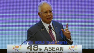 Malaysian Prime Minister Najib Razak delivers his opening speech at the 48th ASEAN Foreign Ministers meeting in Kuala Lumpur on Tuesday.