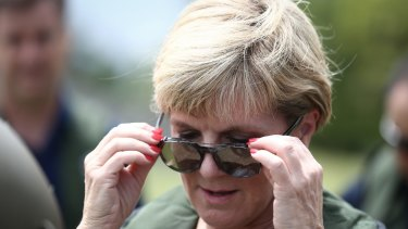 Ms Bishop gets ready for a helicopter ride to Rakiraki during her two-day visit to Fiji to visit areas affected by Tropical Cyclone Winston.