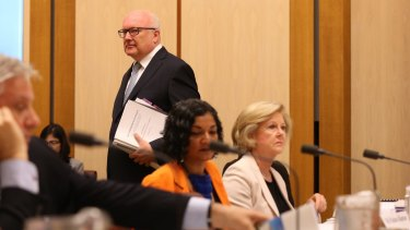 Attorney-General George Brandis in the hearing on Monday.
