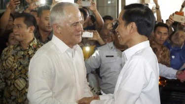 Ties off: Australian Prime Minister Malcolm Turnbull talks with Indonesian President Joko Widodo.