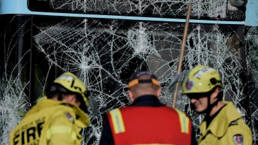 The windscreen of the bus was smashed in the crash at Cammeray.