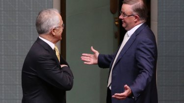 Mr Turnbull with Labor's Anthony Albanese after the opposition won several votes on Thursday night.