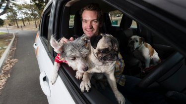 Dr Sam Kovac, with dogs Pepe and Pearl Von Stein, in one of his pet ambulances.