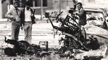 Investigators at the scene of the bombing.