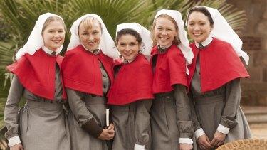 McGahan, fourth from left, with fellow ANZAC Girls Laura Brent, Caroline Craig, Georgia Flood and Antonia Prebble.