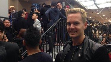 Swedish-born Jesper Nyborg waits in line for the men's range.