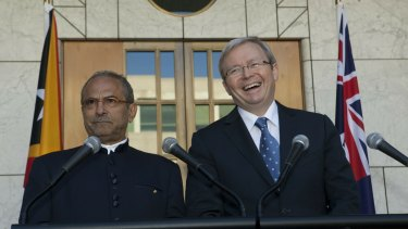 Jose Ramos-Horta, then president of East Timor, and then prime minister Kevin Rudd in Canberra in 2010.