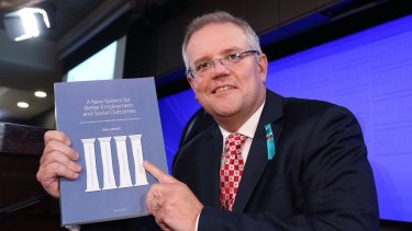 Social Services minister Scott Morrison with the McClure report.