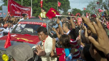 Aung San Suu Kyi campaigning in Myanmar's Sagaing Division recently.