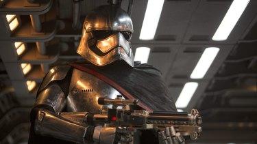 Captain Phasma (Gwendoline Christie) in <i>Star Wars: The Force Awakens</i>.