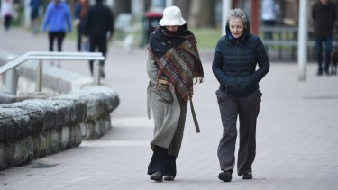 Rugged up in Manly: Sydneysiders had a particularly cold spell to deal with.