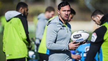 Canberra Raiders winger Jordan Rapana is within reach of the current NRL leading try scorer Suliasi Vunivalu.