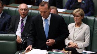 Prime Minister Tony Abbott speaks on the search for flight MH370 on Thursday.