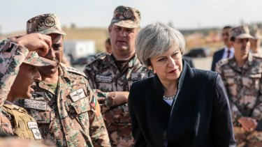 British Prime Minister Theresa May during a visit to a Jordanian Army Base on Monday.