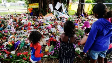 The makeshift memorial for eight children killed in Cairns.