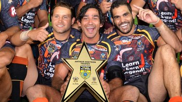 Indigenous pride: Johnathan Thurston, flanked by Greg Inglis and Tyrone Roberts.