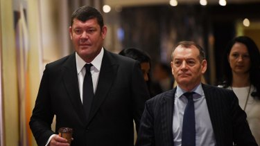 """James Packer, left, and Crown executive chairman John Alexander, who said Crown was """"delighted"""" that the two women had agreed to join the board."""