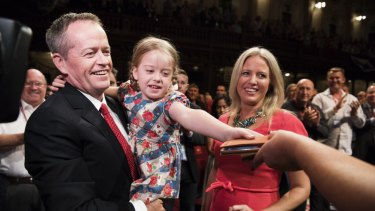 Federal Opposition Leader Bill Shorten with his family at the NSW Labor Conference at Sydney's Town Hall on Saturday.